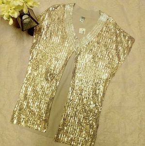 Chico's Gold Sequined Tunic Poncho